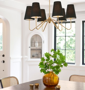 BERKSHIRE 6 ARM CHANDELIER WITH LINEN SHADES