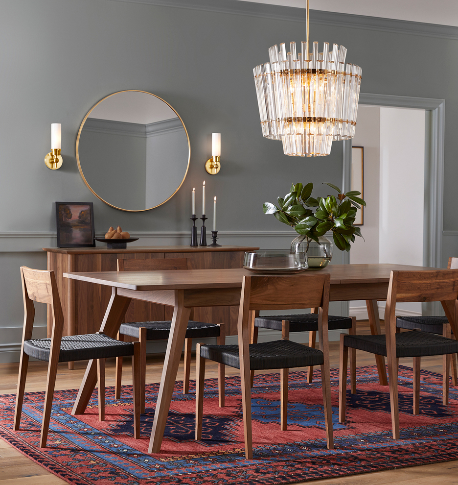 nspired by vintage glasswork from Sweden, our Lucena chandelier features detailed crystals designed to mimic the profile of a classic tiered chandelier. This light is meant to make a statement—hang it above your dining room table, kitchen island, or entryway for an elevated look.