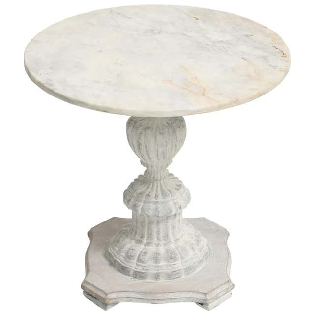 Painted Italian Accent Table with Round Marble Top