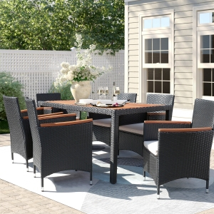 Lacoo 7 Pieces Outdoor Patio Dining Set with PE Rattan Wicker Dining Table and Chairs Acacia Wood Tabletop, Curved Wood Armrest Chairs with Cushions