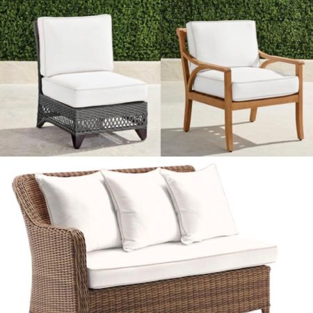 indoor-look outdoor patio seats with crisp white plush cushions