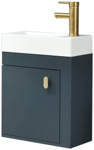 YOURLITE 16 inch Wall Mounted Floating Bathroom Vanity Sink Set Blue Cabinet with Golden Copper Faucet and Pop Up Drain,PVC Cabinet Sink Combo for Small Bathroom (Blue)