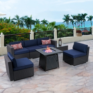 """MF Studio 7-Piece 28"""" Gas Fire Pit Table Set, 50000 BTU Propane Gas Fire Pit Table with Outdoor Rattan Sectional Sofa Sets Suitable for Garden, Patio, Yard"""