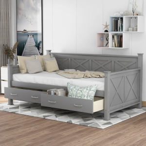 EUROCO Solid Wood X-Shaped Twin Sofa Daybed with Two Storage Drawers, Gray