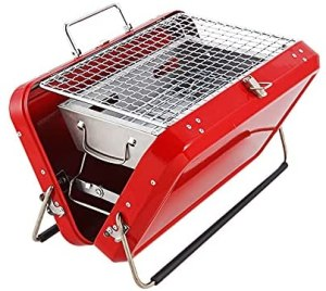 LTLWSH Charcoal Barbecue Grill Portable Vintage BBQ Grill Smoker Grill Suitable for Outdoor Camping, Hiking, Picnic, Backpack, Patio, Backyard,Red