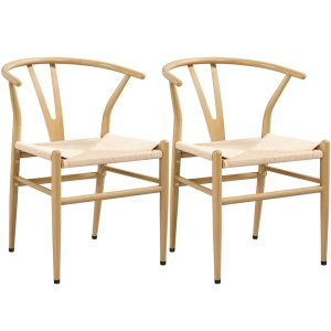 SmileMart Mid-Century Metal Dining Chairs with Woven Hemp Seat, Set of 2, Natural