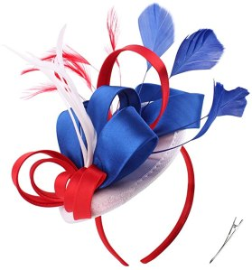 Fascinator Hats for Women 4th of July Patriotic Color Feather Cocktail Hats Kentucky Derby Headband (US Flag Color Red Blue White