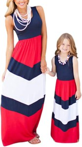 FLITAY Women's Striped Maxi Sleeveless Dress Chevron Mommy and Me Dress 1-red and Blue Medium