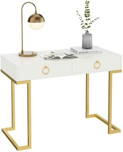 Nathan James Leighton Two-Drawer Writing Glam Accents Brass, Home Office Computer Desk or Vanity Table, 2, White/Gold