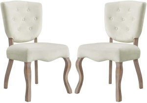 Modway Array French Vintage Tufted Performance Velvet Two Dining Chairs in Ivory