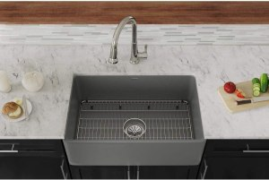 """Elkay SWUF28179MGFC Fireclay Single Bowl Farmhouse Sink Kit with Faucet, 30"""", Matte Gray"""