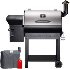 Z GRILLS ZPG-7002E 2020 Upgrade Wood Pellet Grill & Smoker, 8 in 1 BBQ Grill Auto Temperature Controls, inch Cooking Area, 700 sq, Silver