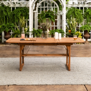 Manor Park Wood Outdoor Patio Extendable Dining Table, Brown