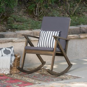 Louise Outdoor Acacia Wood Rocking Chair with Cushion, Grey and Grey