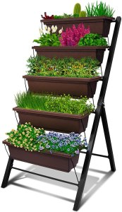 4Ft Vertical Raised Garden Bed - 5 Tier Food Safe Planter Box for Outdoor and Indoor Gardening Perfect to Grow Your Herb Vegetables Flowers on Your Patio...