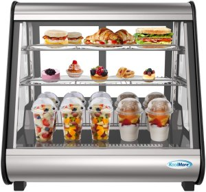 """KoolMore - CDC-4C-BK 27"""" Commercial Countertop Refrigerator Display Case Merchandiser with LED Lighting - 4.6 cu. ft, Black and Stainless Steel (858154008300)"""