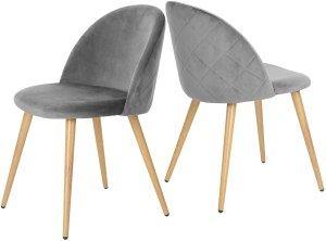 GreenForest Dining Chairs Set of 2, Modern Velvet Kitchen Room Chair Upholstered Accent Leisure Side Chairs with Metal Legs, Gray