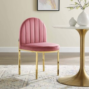 Modway Isla Channel Tufted Performance Velvet Dining Side Chair, Gold Dusty Rose