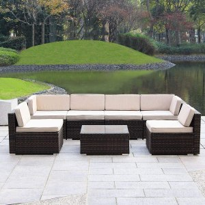 Haverchair Patio Rattan Wicker Outdoor Furniture Sectional All-Weather Sofa 7-Piece Conversation Set with Cushions (7 Pieces)