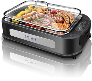 LITBOOS Smokeless Grill Indoor,1500W PFOA-Free Portable Electric Grill , Non-stick Grill Plates with Temperature Control,Electric Korean BBQ Grill - Removable Drip Tray,Tempered Glass Lid-Black