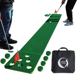 2-FNS Golf Putting Game Set, 11.5 Feet Golf Putting Green Mat with 4 Golf Balls and 1 Portable Bag for Indoor Outdoor Home Office Backyard Fun