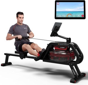 HARISON Water Rowing Machines for Home Use with APP Foldable Rower Exercise Equipment 300 LBS Capacity with LCD Display and iPad Phone Mount