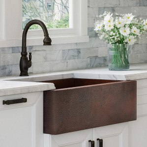 Luxury HEAVY-GAUGE (12-Gauge) 33-Inch Modern Copper Farmhouse Sink (48 LBS Pure Copper), Apron Front, Single Bowl, Dark Antique Copper Finish, Grid and...