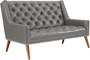 Modway Peruse Upholstered Modern Tufted Loveseat With Nailhead Trim in Gray Faux Leather