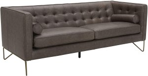 """Amazon Brand – Rivet Brooke Contemporary Mid-Century Modern Tufted Leather Sofa Couch, 82""""W, Grey"""