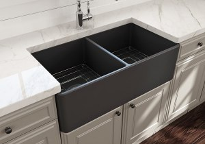 BOCCHI 1139-020-0120 Classico Apron Front Fireclay 33 in. Double Bowl Kitchen Sink with Protective Bottom Grid and Strainer in Matte Dark Gray