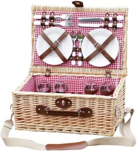 Ghongrm 4 Person Picnic Basket Set Willow Picnic Hamper with Handle Includes Cutlery, Plates, Wine Glasses Ideal for Outdoor Dining & Camping (Color : Pink)