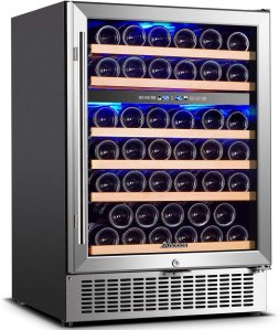 Upgraded】Wine Cooler Dual Zone,AAOBOSI 24 inch 51 Bottle Wine Refrigerator Built-in or Freestanding with Fashion Look,Quick and Silent Cooling System Double-Layer Tempered Glass Door Front Ventilation