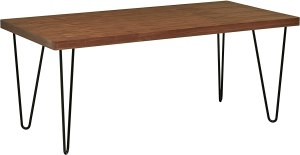 """Amazon Brand – Rivet Industrial Mid-Century Modern Hairpin Dining Table, 70.9""""L, Walnut and Black"""
