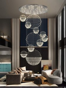 7PM Crystal Staircase Chandelier Modern Spiral Ceiling Light Contemporary Chrome Lighting Fixture for Foyer Entry