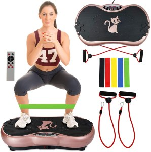 Ravs Vibration Plate Exercise Machine Whole Body Workout Machine Vibration Fitness Platform Machine Home Training Equipment with Resistance Bands, Remote...