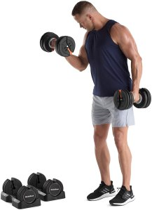 NordicTrack 55 lb Select-a-Weight Dumbbell Pair, Black