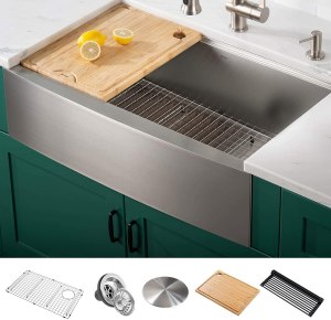 Kraus KWF210-33 Kore Workstation 16 Gauge Farmhouse Single Bowl Stainless Steel Kitchen Sink with Integrated Ledge and Accessories (Pack of 5), 33 Inch...