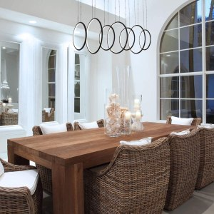 Royal Pearl Modern Chandelier Circular LED Simple 7 Rings Pendant Ceiling Lighting for Dining Table Entry Kitchen Island Black Cool White 6000K