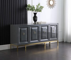Best Master Furniture Tatiana High Gloss Lacquer Sideboard/Buffet with Gold Trim, Grey