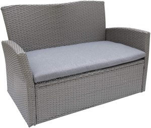 C-Hopetree Outdoor Loveseat Sofa Chair for Outside Patio or Garden, All Weather Wicker with Cushion, Gray
