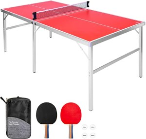 GoSports Mid-Size Table Tennis Game Set - Indoor/Outdoor Portable Table Tennis Game with Net, 2 Table Tennis Paddles and 4 Balls
