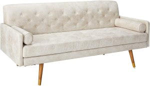 Christopher Knight Home Truda Mid Century Modern Microfiber Sofa with Button Accents, Ivory, Dark Walnut