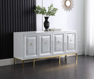 Best Master Furniture Tatiana High Gloss Lacquer Sideboard/Buffet with Gold Trim, White
