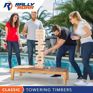 Rally and Roar Towering Timbers - Giant Tumbling Wood Timbers Game – 2.5 feet Tall (Build to Over 5 feet) CLASSIC or PREMIUM Wood Version - For Adults, Family – Stacking Blocks Set w/Canvas Bag