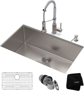 """Kraus 32"""" Undermount Kitchen Sink w/ Bolden Commercial Pull-Down Faucet and Soap Dispenser in Stainless Steel/Chrome"""