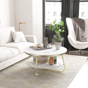 Elephance Round Coffee Table with Storage, 35.8 Inch Rustic Wood Coffee Table with Strong Metal Frame for Living Room, Dining Room, Cocktail Table, Round Sofa Table (White)
