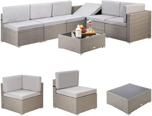 Pamapic 7 Pieces Outdoor Sectional, Wicker Patio Sectional Sofa Conversation Set, Rattan Sofa with Coffee Table and Washable Cushions Covers, Grey...