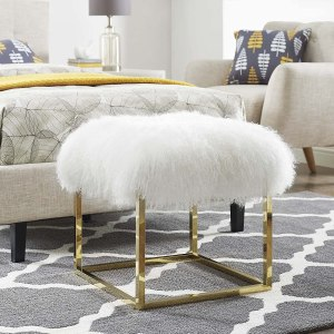 Modway Anticipate Modern Ottoman With Sheepskin Upholstery and Gold Stainless Steel Frame, White