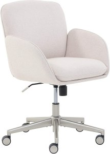 """Amazon Brand – Rivet Modern Upholstered Swivel Home Office Task Chair, 25.5""""W, Beige with Nickel Finish"""