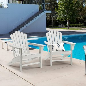 Ehomexpert All-Weather Outdoor Adirondack Chair Set of 2, Oversized Poly Lumber Classic Patio Chairs for Fire Pit&Garden, White